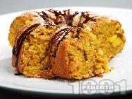 Кекс с портокали, корнфлейкс и шоколадов топинг (със сода за хляб)